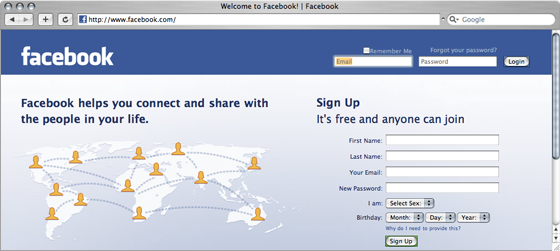 Facebook home-page